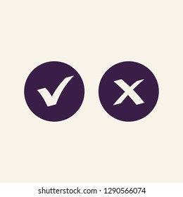 Checkmark OK and X vector button isolated on background.. Right and wrong check mark vector icons black color. Symbols YES and NO for decision making, vote, mobile app, web site. 10 eps
