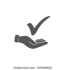 Checkmark On Hand Icon Vector Illustration .