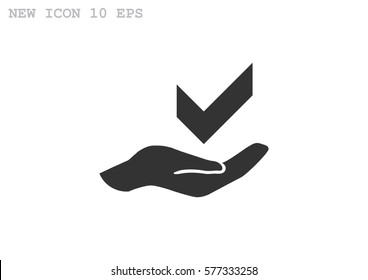checkmark on hand web icon. vector design