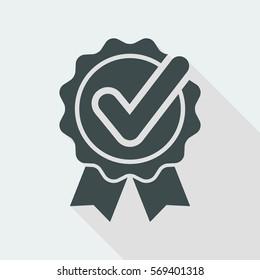 Checkmark on ribbon - Vector flat minimal icon