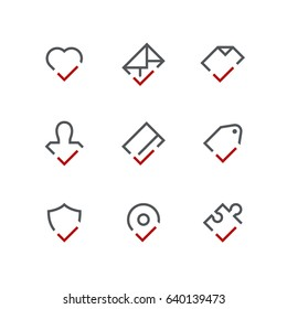 Checkmark outline vector icon set - heart, envelope, document, person, credit card, price tag, shield, address and puzzle with tick or check box symbols. Contacts and business signs.