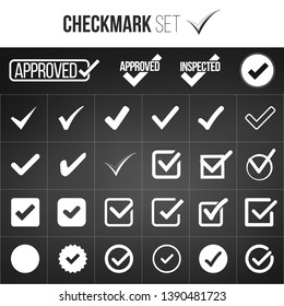 Checkmark or tick mark collection set. Acceptance, approval, right choice, correct selection, true option, positive answer, saying yes, , confirmation concept. Vector illustration isolated on black
