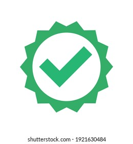 Checkmark vector icon in star badge. Symbol of approval.