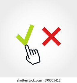 Checkmark vector illustration with pointer -choice concept
