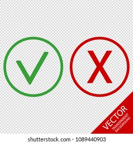 Checkmark And X Or Confirm And Deny Icons - Vector Illustration - Isolated On Transparent Background