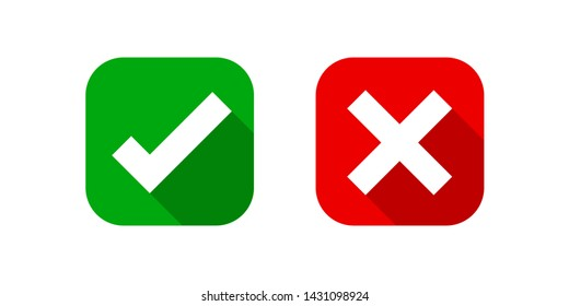 checkmark and x or confirm and deny square icon button flat for apps and websites symbol, icon checkmark choice, checkbox button for choose, square answer box for checklist, approval check sign button
