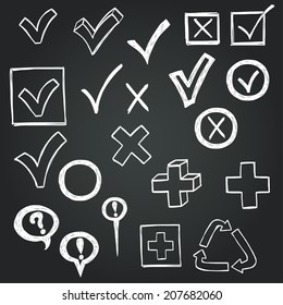 Checkmarks and checkboxes drawn in a doodled style on chalkboard background.
