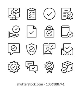 Checkmarks line icons set. Modern graphic design concepts, simple outline elements collection. Vector line icons