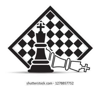 Checkmate In Chessboard on a white background Vector Illustration. Chess King Figures Pieces.