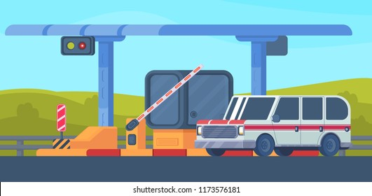 Checkpoint on toll highway. Booth with a rising and lowering barrier. Car and roadside point. Road toll area with transport. Vector flat illustration.