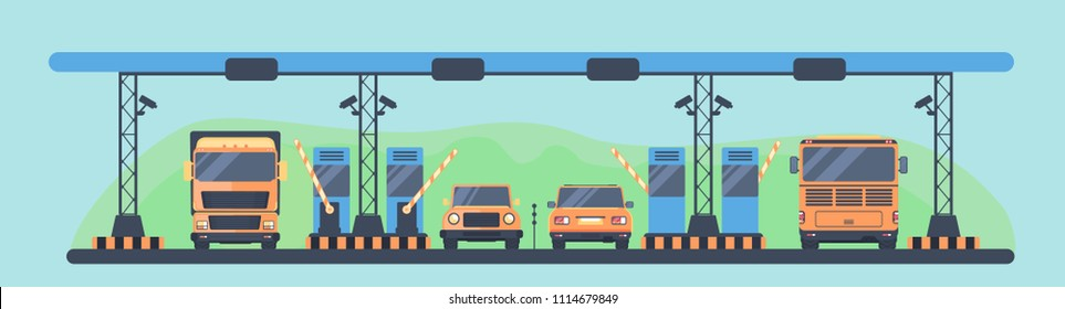 Checkpoint on the toll road with barrier and booth. Payment area with transport. Car back and front view. Vector illustration.