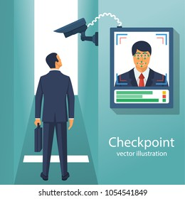 Checkpoint with a surveillance camera and system for the identification of persons. Businessman identifies a person. Scan at the input. Modern technology security. Biometric facial recognition system.