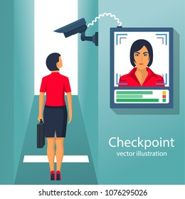 Checkpoint with a surveillance camera and system for the identification of people. Businesswoman identifies person. Scan at the input. Modern technology security. Biometric facial recognition system.