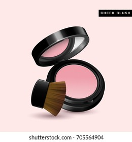 Cheek blush mockup, close up look at makeup product in 3d illustration isolated on pink background