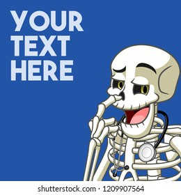 The cheeky instruction for your success concept with skeleton picked his nose with his middle finger, cartoon character mascot, vector illustration.