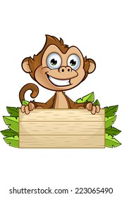 Cheeky Monkey Character - Holding Wooden Sign