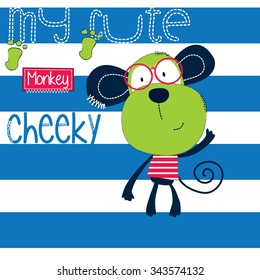 cheeky monkey with glasses on striped background vector illustration