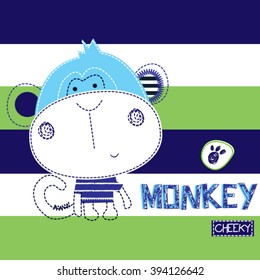 cheeky monkey on striped background, T-shirt design for kids vector illustration