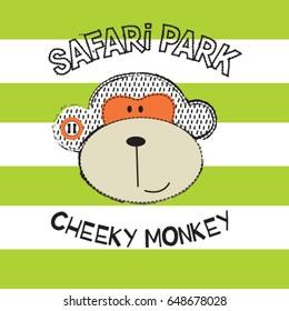 cheeky monkey on striped background, safari monkey park, T-shirt design for kids vector illustration