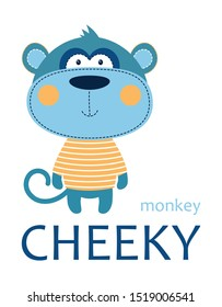 cheeky monkey in striped tshirt with lettering isolated on white background, tshirt design for kids vector illustration