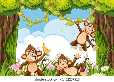 Cheeky monkeys in jungle scene illustration
