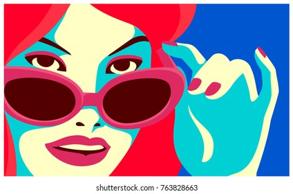 Cheeky redhead woman looking over sunglasses and smiling fashion minimal pop art style flat design vector illustration