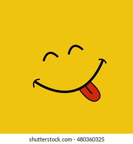 Cheeky smiley face on yellow background , vector illustration