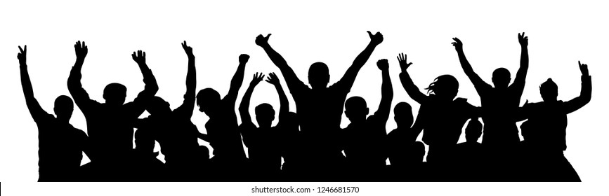 Cheer crowd people, thumb up. Silhouette party celebrating. Applause people hands up. Stand alone, separate  group of people. Vector Illustration