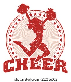 Cheer Design - Vintage is an illustration of a cheer design in a vintage style with a cheerleader silhouette, circle of stars and sunburst pattern.