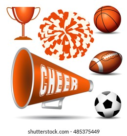 Cheer leading. Pompom with balls, cup and megaphone. Vector illustration