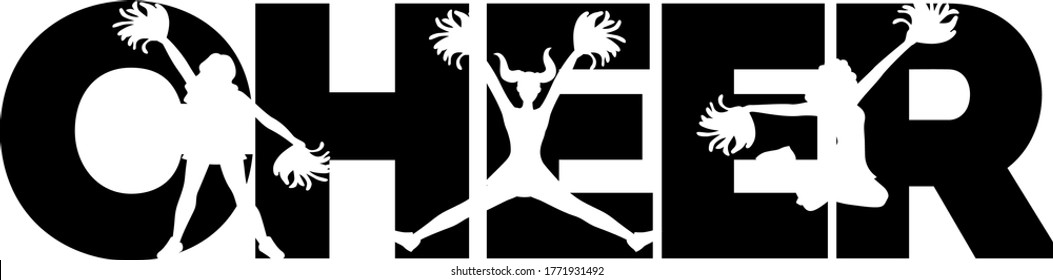 Cheer quotes. Cheeleader silhouette. Pompoms vector
