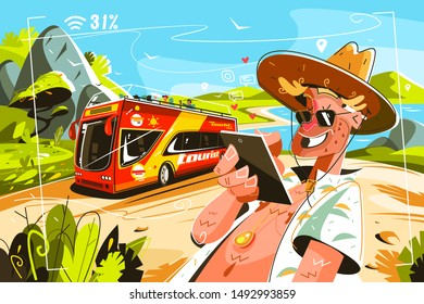 Cheereful tourists on bus vector illustration. Cartoon smiling man in shirt and cap surfing internet wia tablet flat style design. Travellig and adventure concept