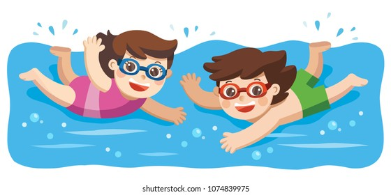 Cheerful and active little Boy and Girl swimming in the swimming pool.