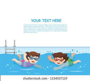 Cheerful and active little Boy and Girl swimming in the swimming pool. Template for advertising brochure.