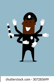 Cheerful african american policeman in black uniform with many hands holding in one of them a traffic rod. Cartoon flat style