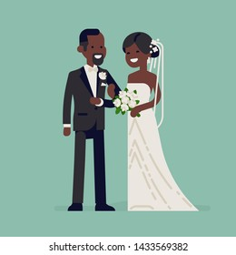 Cheerful African newlyweds standing together wearing wedding dresses. Wedding ceremony concept illustration. Bride and groom flat vector characters