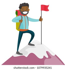 Cheerful african-american climber standing on the top of mountain with a red flag. Young smiling mountaineer climbing on a rock. Vector cartoon illustration isolated on white background. Square layout