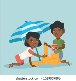 Cheerful african-american women making a sand castle on the beach under beach umbrella. Friends building a sandcastle. Tourism and beach holiday concept. Vector cartoon illustration. Square layout.