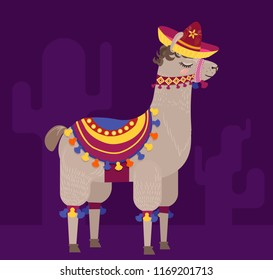 Cheerful alpaca in a sombrero with pompoms. Vector illustration in cartoon style