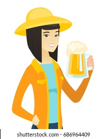 Cheerful asian farmer in sumer hat drinking beer. Smiling farmer with glass of beer. Young happy farmer holding mug of beer. Vector flat design illustration isolated on white background