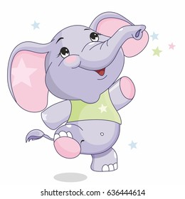 cheerful baby elephant, cute, plump, jump, and coloring for the little ones, large items, pictures for children, illustration to the tale
