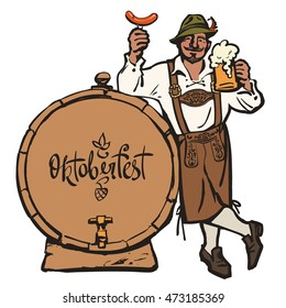 Cheerful Bavarian man with beer mug and sausage leaning on barrel with lettering Octoberfest. Hand drawn vector in sketch style isolated on white background.
