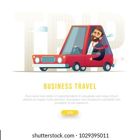 Cheerful bearded businessman in suit driving a car. Concept business travel illustration.