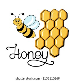 Cheerful bee with honey on the white background. Hand lettering. Positive vector illustration
