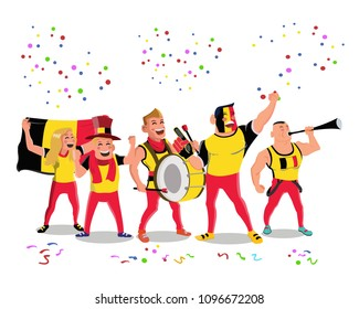 Cheerful Belgium National Team Supporters Crowd Having Fun Celebration