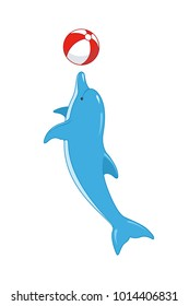 A cheerful blue dolphin plays with a ball. Vector illustration, isolated, on white background.