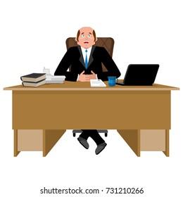 Cheerful boss at work. Happy Businessman at desk. Vector illustration
