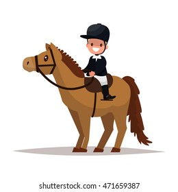 Cheerful boy jockey riding a horse. Vector illustration of a flat design