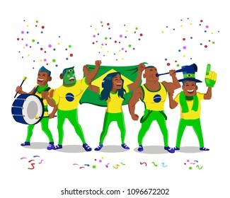 Cheerful Brazil National Team Supporters Crowd Having Fun Celebration
