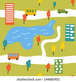 Cheerful bright city in the summer time. Vector seamless background